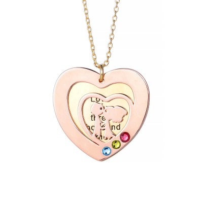 Kissing Love Engraved Birthstone Personalized Pendant 925 Sterling Silver Necklace