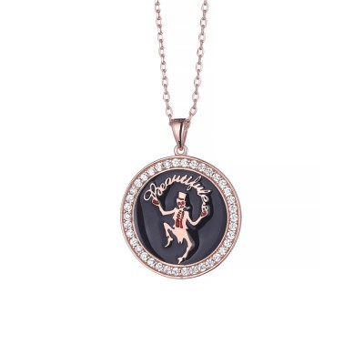 Black Magician Solitaire Personalized 925 Sterling Silver Necklace