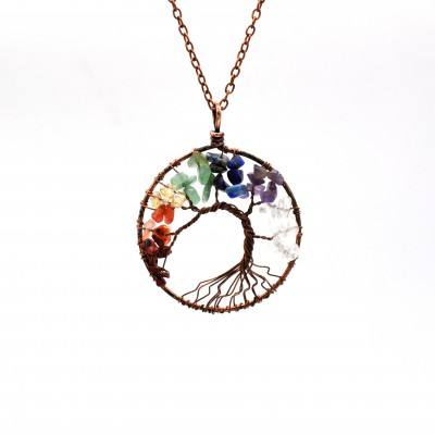 Tinnivi Copper Colorful Created Gemstone Tree of Life Pendant Necklace