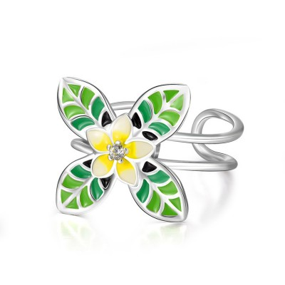 Tinnivi Stylish Flower Design Rotatable Sterling Silver Womens Ring