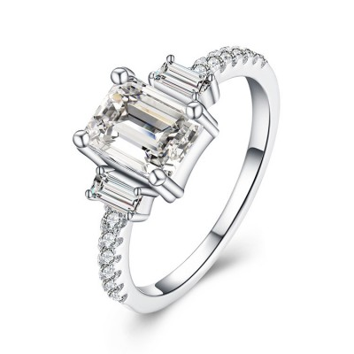 Tinnivi Three Stone Emerald Cut Created White Sapphire Sterling Silver Engagement Ring