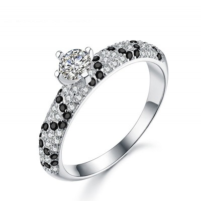 Tinnivi Classic Round Cut Created White and Black Sapphire Sterling Silver Engagement Ring