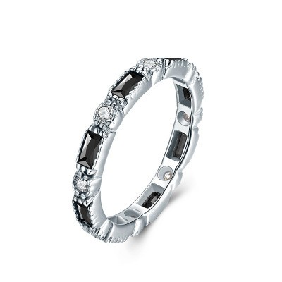 Tinnivi Simple Created White and Black Sapphire Sterling Silver Wedding Band