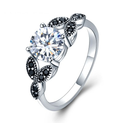 Tinnivi Fashion Vine Design Round Cut Created White Sapphire Sterling Silver Engagement Ring