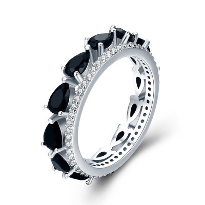 Tinnivi Pear Cut Created Black Sapphire Sterling Silver Band