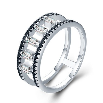 Tinnivi Hollow Out Created White Sapphire Sterling Silver Band