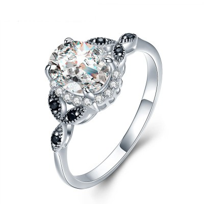 Tinnivi Gorgeous Vine Halo Oval Cut Created White Sapphire Engagement Ring