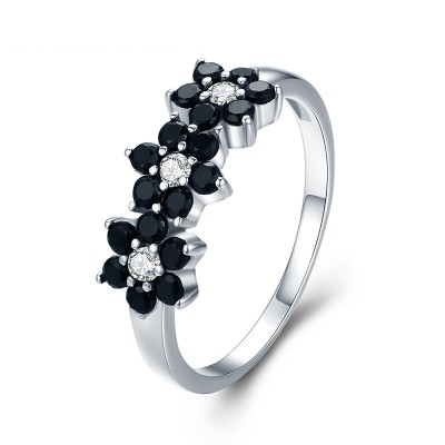Tinnivi Elegant Flower Created Black Sapphire Sterling Silver Band
