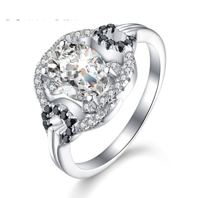 Tinnivi Gorgeous Halo Oval Cut Created White Sapphire Sterling Silver Engagement Ring