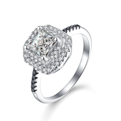 Tinnivi Delicate Double Halo Princess Cut Created White Sapphire Sterling Silver Engagement Ring