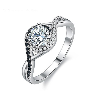 Tinnivi Halo Twist Round Cut Created White Sapphire Sterling Silver Engagement Ring