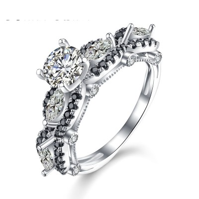 Tinnivi Elegant Round Cut With Marquise Cut Created White Sapphire Sterling Silver Engagement Ring
