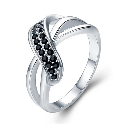 Tinnivi Stylish Created Black Sapphire Sterling Silver Band