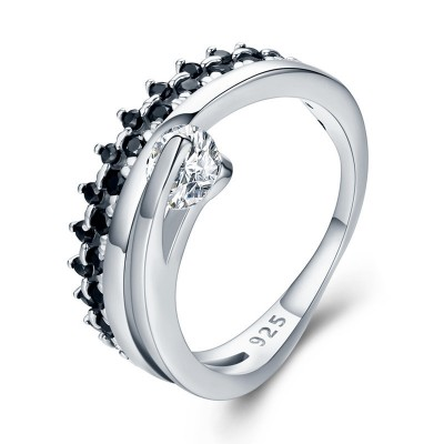 Tinnivi Fashion Created Black Sapphire Sterling Silver Band