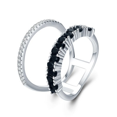 Tinnivi Stylish Double Ring Design Sapphire Sterling Silver Band