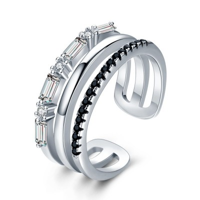 Tinnivi Emerald Cut Created White Sapphire Sterling Silver Open Band