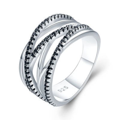 Tinnivi Stylish Twist Created Black Sapphire Sterling Silver Band