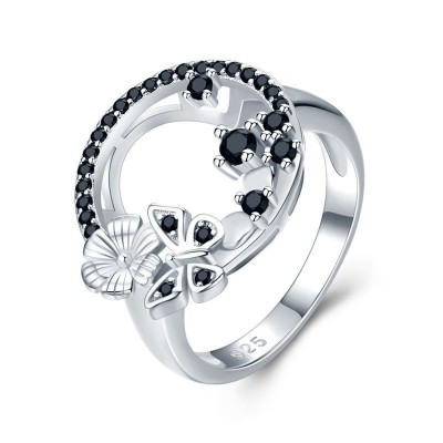 Tinnivi Hollow Out Butterfly With Flower Sterling Silver Band