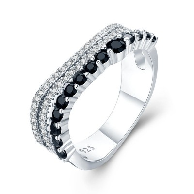 Tinnivi Simple Sterling Silver Created White and Black Sapphire Wedding Band