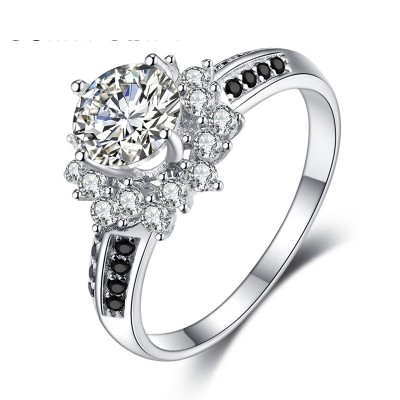 Tinnivi Flower Design Round Cut Created White Sapphire Sterling Silver Engagement Ring