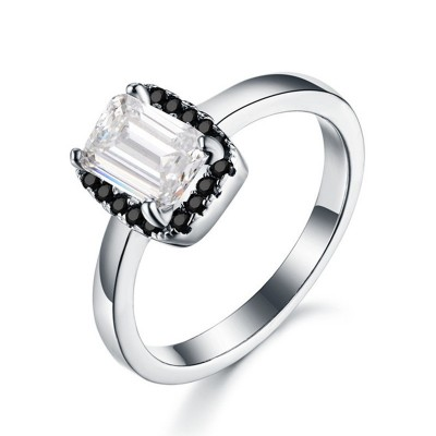 Tinnivi Simple Halo Emerald Cut Created White Sapphire Sterling Silver Engagement Ring