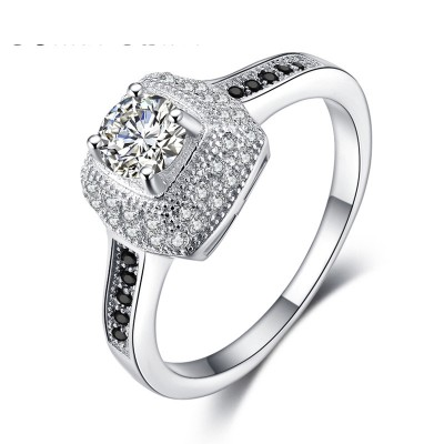 Tinnivi Double Halo Round Cut Created White Sapphire Sterling Silver Engagement Ring