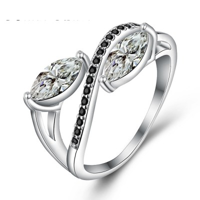 Tinnivi Stylish Marquise Cut Created White Sapphire Sterling Silver Band