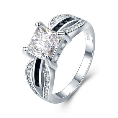 Tinnivi Delicate Princess Cut Created White Sapphire Sterling Silver Engagement Ring
