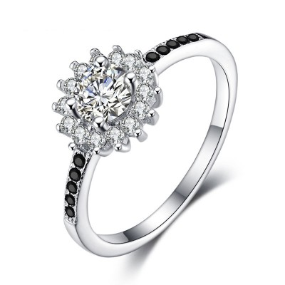Tinnivi Flower Design Halo Round Cut Created White Sapphire Sterling Silver Engagement Ring