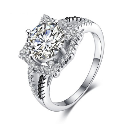 Tinnivi Gorgeous Halo Round Cut Created White Sapphire Sterling Silver Engagement Ring