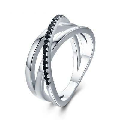 Tinnivi Twist Created Black Sapphire Sterling Silver Band