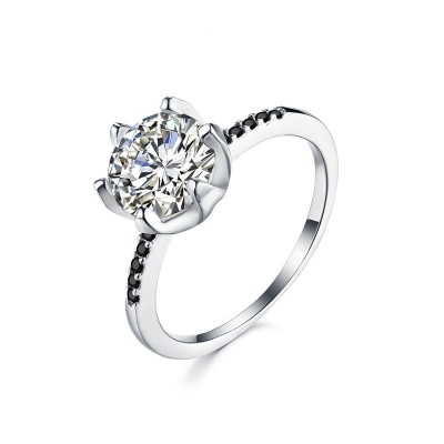 Tinnivi Classic Six Prong Round Cut Created White Sapphire Sterling Silver Engagement Ring