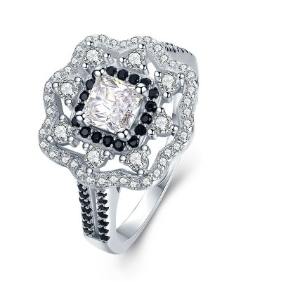 Tinnivi Gorgeous Halo Princess Cut Created White Sapphire Sterling Silver Engagement Ring