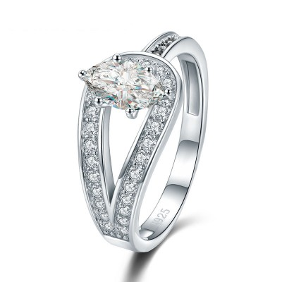 Tinnivi Stylish Marquise Cut Created White Sapphire Sterling Silver Engagement Ring