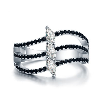 Tinnivi Wave Marquise Cut Created White Sapphire Sterling Silver Band