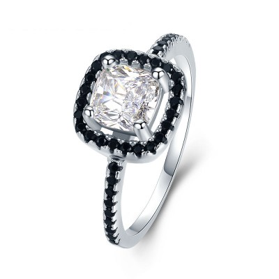 Tinnivi Halo Cushion Cut Created White Sapphire Sterling Silver Engagement Ring