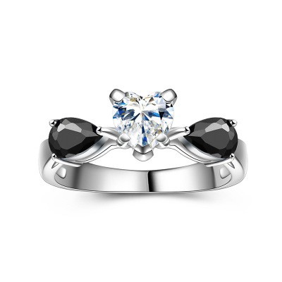 Tinnivi Stylish Three Stone Heart Cut Created White Sapphire Sterling Silver Engagement Ring