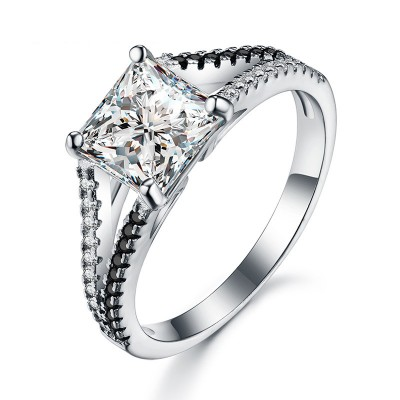 Tinnivi Princess Cut Created White Sapphire Sterling Silver Engagement Ring
