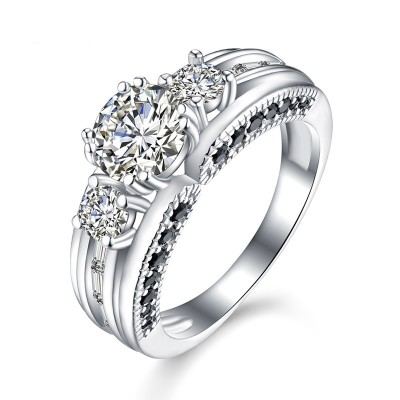 Tinnivi Gorgeous Three Stone Created White Sapphire Sterling Silver Engagement Ring