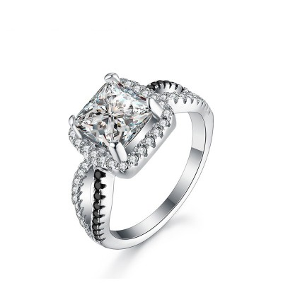Tinnivi Elegant Halo Cushion Cut Created White Sapphire Sterling Silver Engagement Ring