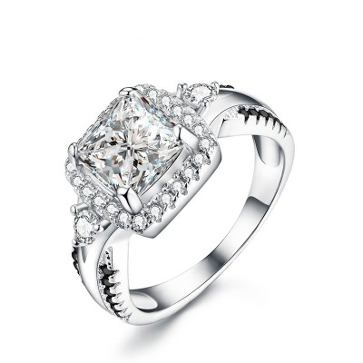 Tinnivi Gorgeous Cushion Cut Halo Created White Sapphire Sterling Silver Engagement Ring