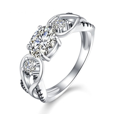 Tinnivi Three Stone Twist Created White Sapphire Sterling Silver Engagement Ring