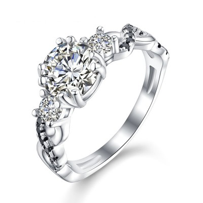 Tinnivi Twist Three Stone Created White Sapphire Sterling Silver Engagement Ring