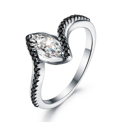 Tinnivi Fashion Marquise Cut Created White Sapphire Sterling Silver Engagement Ring