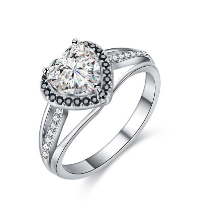 Tinnivi Elegant Halo Heart Cut Created White Sapphire Sterling Silver Engagement Ring