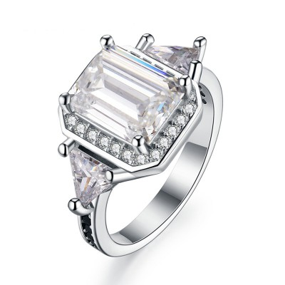 Tinnivi Three Stone Halo Emerald Cut Created White Sapphire Sterling Silver Engagement Ring