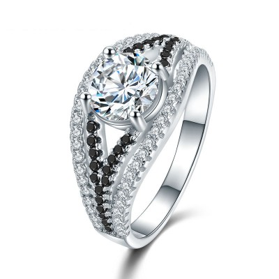 Tinnivi Fashion Round Cut Created White Sapphire Sterling Silver Engagement Ring