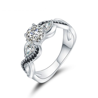 Tinnivi Elegant Twist Three Stone Created White Sapphire Sterling Silver Engagement Ring