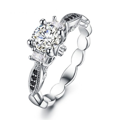 Tinnivi Delicate Three Stone Created White Sapphire Sterling Silver Engagement Ring