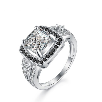 Tinnivi Halo Princess Cut Created White Sapphire Sterling Silver Engagement Ring